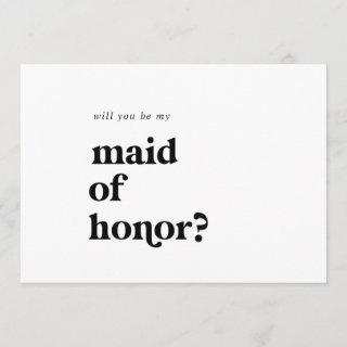 Modern Black Typography Maid of Honor Proposal