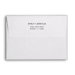 Modern Black White 5 x 7 Wedding Return Address Envelope