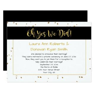 Modern Black White Gold Sparkles Reception Only Invitations