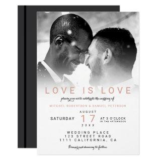 Modern black white ombre photo gay wedding Invitations