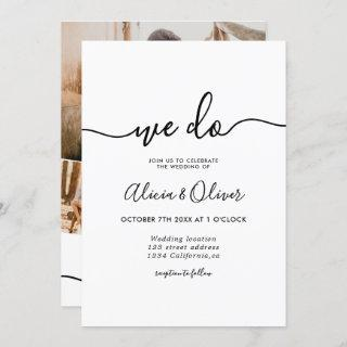 Modern black white script photo initials wedding invitation