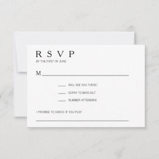 Modern Black & White Song Request Wedding RSVP Card