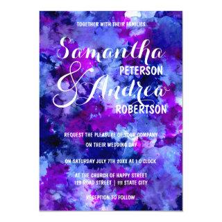 Modern blue purple watercolor Wedding Invitations