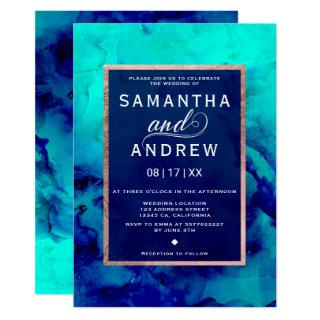 Modern blue turquoise watercolor rose gold wedding Invitations