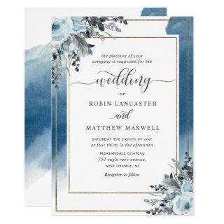 Modern Blue Watercolor and Blue Floral Wedding Invitations