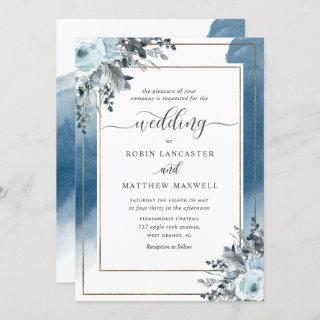 Modern Blue Watercolor and Blue Floral Wedding Invitation