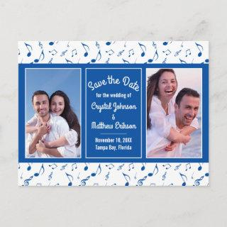 Modern Blue White Music Notes Photo Save the Date