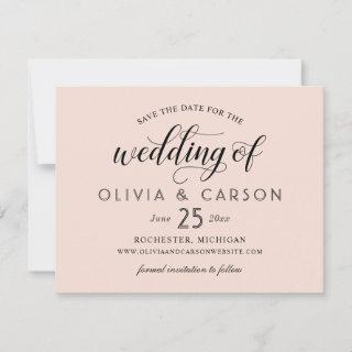 Modern Blush and Black Script Wedding Save The Date