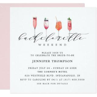Modern Blush Bachelorette Weekend Invitations
