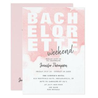 Modern Blush Bachelorette Weekend Itinerary Invitation