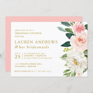 Modern Blush Chic Floral Gold Bridesmaid Luncheon Invitation