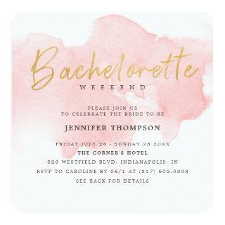 Modern Blush Gold Bachelorette Weekend Invitations