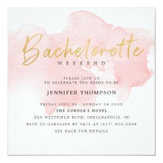 Modern Blush Gold Bachelorette Weekend Invitation