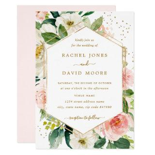Modern Blush Gold Floral Watercolor Wedding Invite