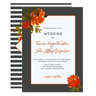 Modern Bohemian Orange Gray Floral Wedding Invitation