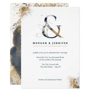 Modern boho ampersand navy and gold Invitations