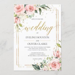 Modern Boho blush pink floral gold frame wedding Invitations