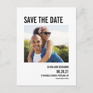 modern bold typography chic save the date postcard