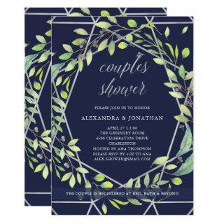 Modern Botanical | Silver and Blue Couples Shower Invitation