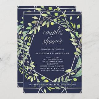 Modern Botanical | Silver and Blue Couples Shower Invitations