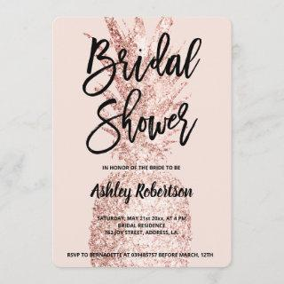 Modern bridal shower rose gold glitter pineapple invitation