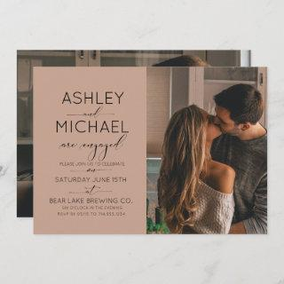 Modern Brown Calligraphy 2 Photo Engagement Party Invitations