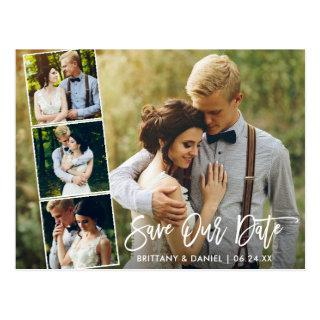 Modern Brush Script Couple 4 Photo Save Our Date Postcard