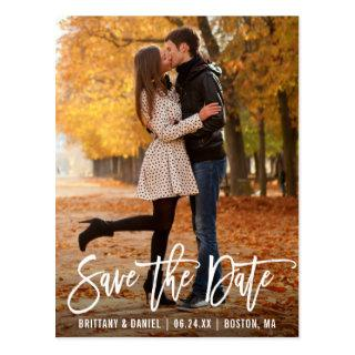 Modern Brush Script Photo Save The Date Postcard