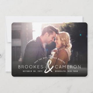 Modern Brushed Ampersand Photo Save The Date