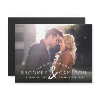 Modern Brushed Ampersand Photo Save The Date Magnetic