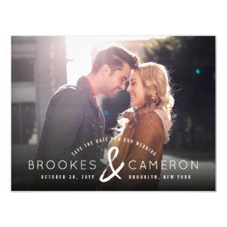 Modern Brushed Ampersand Photo Save The Date Magnetic Invitation