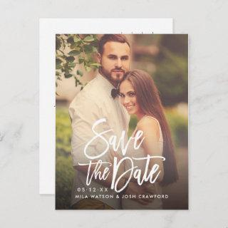 Modern Brushed Script Wedding Photo Save the Date Announcement Postcard