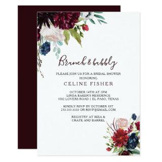 Modern Burgundy Brunch & Bubbly Bridal Shower Invitation