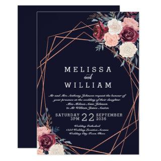 Modern Burgundy Floral Copper Navy Wedding Invitation