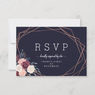 Modern Burgundy Floral Geometric Navy Meal Choice RSVP Card