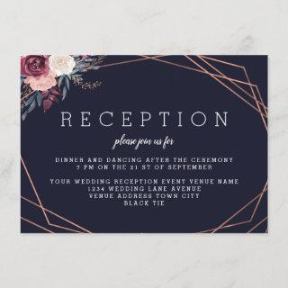 Modern Burgundy Floral Geometric Navy Reception Enclosure Card