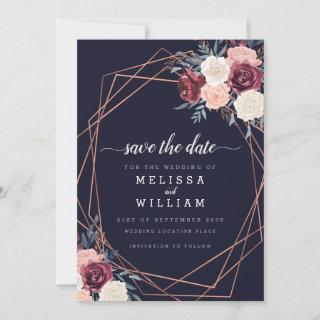 Modern Burgundy Floral Geometric Wedding Save The Date