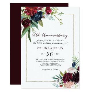 Modern Burgundy Navy 50th Wedding Anniversary Invitations