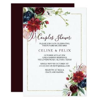 Modern Burgundy Navy Blush Floral Couples Shower Invitations