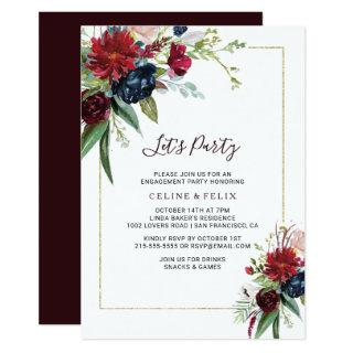 Modern Burgundy Navy Blush Floral Let's Party Invitations