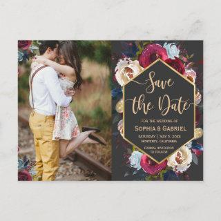 Modern Burgundy Navy Floral on Grey Save the Date Announcement Postcard