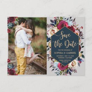 Modern Burgundy Navy Floral Photo Save the Date Announcement Postcard