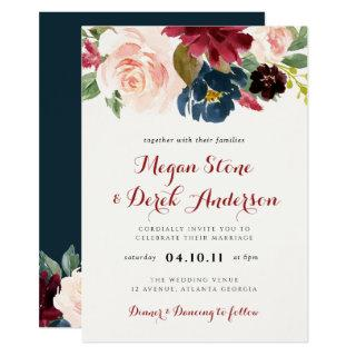 Modern burgundy & navy floral wedding invitation