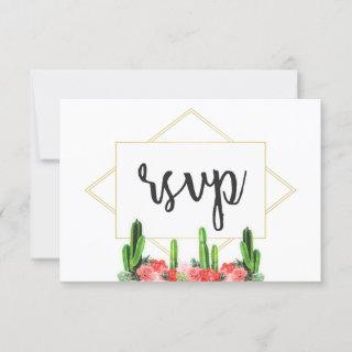 Modern Cactus and Floral Response Card