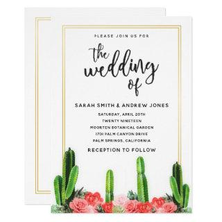 Modern Cactus, Succulent and Floral Wedding Invitations