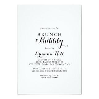 Modern Calligraphy Brunch and Bubbly Bridal Shower Invitations