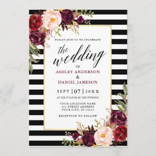 Modern Calligraphy Burgundy Floral Wedding Striped Invitation