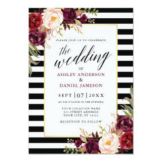 Modern Calligraphy Burgundy Floral Wedding Striped Invitations