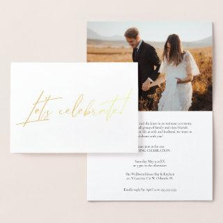 Modern Calligraphy Gold Foil Post Wedding Party  Foil Card