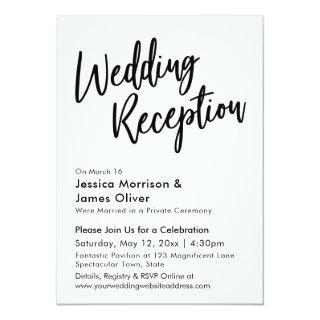 Modern Calligraphy Minimalist Wedding Reception Invitations